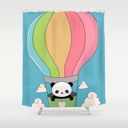 Kawaii Panda Bear Hot Air Balloon Shower Curtain