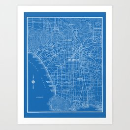 Los Angeles Street Map Art Print