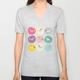 Cute Unicorn polka dots grey pastel colors and linen texture #homedecor #apparel #stationary #kids Unisex V-Neck