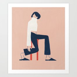 Minimalist on a Red Stool Art Print