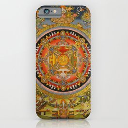 Manjushri Meditation Gold Thangka Mandala iPhone Case