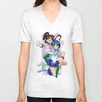 sailor jupiter V-neck T-shirts featuring Sailor Mercury and Sailor Jupiter by Neo Crystal Tokyo