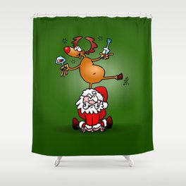 Reindeer is having a drink on Santa Claus Shower Curtain