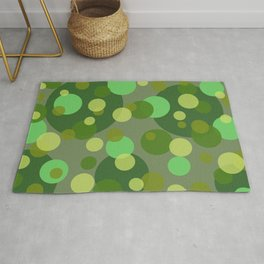 Round Bubbles green yellow patten Rug