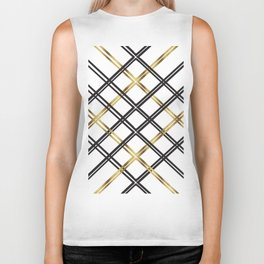 Crosshatch in Gold Biker Tank