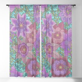 Colorful Zentangle Flowers Sheer Curtain