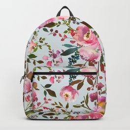 Elegant girly pink coral lilac green watercolor floral Backpack