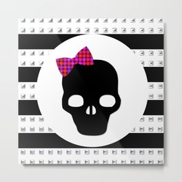 Studded Skull Dotted Hair Bow Metal Print