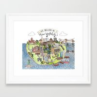 new york city Framed Art Prints featuring New York City Love by Brooke Weeber