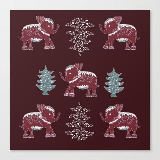 Elephants, trees and flowers Canvas Print