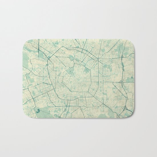 Milan Map Blue Vintage Bath Mat