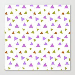 Geometrical violet purple lime green triangles pattern Canvas Print