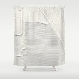 Relief [2]: an abstract, textured piece in white by Alyssa Hamilton Art Shower Curtain
