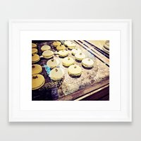 macaron Framed Art Prints featuring macaron by inourgardentoo