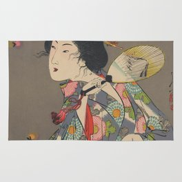 Japanese Art Print - Woman and Fireflies Rug