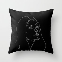 Face one line black and white illustration - Cleo Throw Pillow