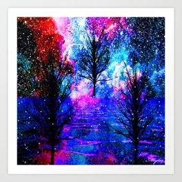 NEBULA TREES FANTASY OCEAN DREAMS Art Print