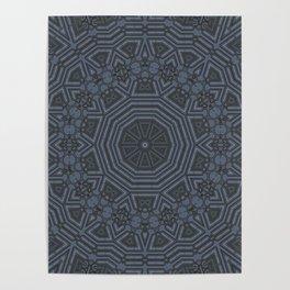 Midnight Blue Mandala Pattern Poster