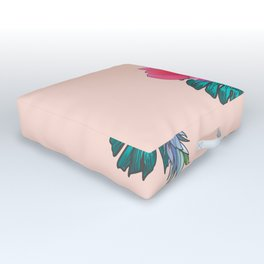 Tropical Summer Watercolor Pink Green Yellow Floral Outdoor Floor Cushion
