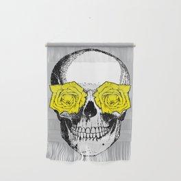 Skull and Roses   Grey and Yellow Wall Hanging