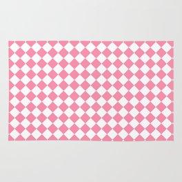 Small Diamonds - White and Flamingo Pink Rug