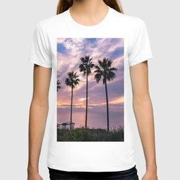 La Jolla Palm Trees Ocean Beach Silhouettes (Purple, blue) T-shirt