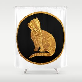 Golden cat silhouette B-V Shower Curtain