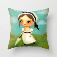 jane austen Throw Pillows featuring Jane Austen by tascha