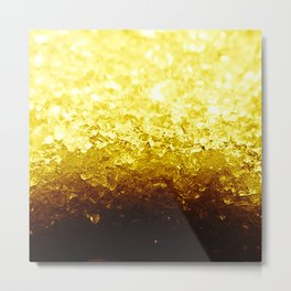 Golden Yellow Ombre Crystals Metal Print