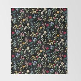 Spring Botanicals Black Throw Blanket
