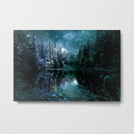 Winter Wonderland Forest Green Teal : A Cold Winter's Night Metal Print