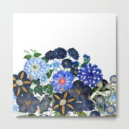 Vintage & Shabby Chic - Blue Flower Summer Meadow Metal Print