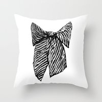 bow Throw Pillows featuring Bow by Samantha Turnbull