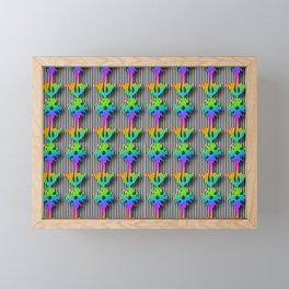 FLOWERS ON STRIPES Framed Mini Art Print