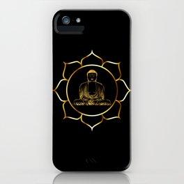 Gold buddha in lotus meditation illustration iPhone Case