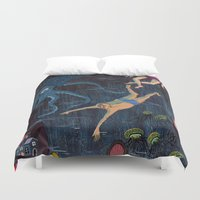 swim Duvet Covers featuring Swim Meet by Valeriya Volkova