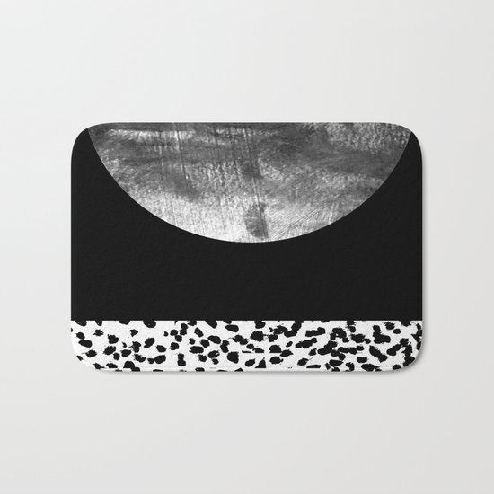 Maru - moon abstract painting texture black and white monochromatic urban brooklyn nature city Bath Mat