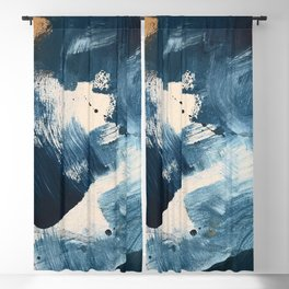 Against the Current: A bold, minimal abstract acrylic piece in blue, white and gold Blackout Curtain