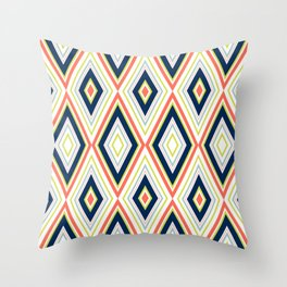 Coral and Navy Chevron Pattern Throw Pillow