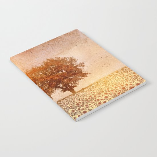 lone tree & sunflowers field (colour option) Notebook