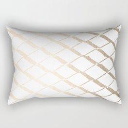 Luxe Gold Diamond Lattice Pattern on White Rectangular Pillow