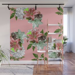 LILY PINK AND WHITE FLOWER Wall Mural