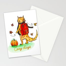 Cosy days Autumn Cat Stationery Cards