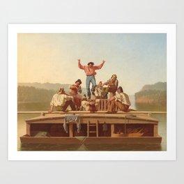The Jolly Flatboatmen by George Caleb Bingham Art Print