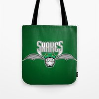 slytherin Tote Bags featuring Snakes Slytherin by Fresco Umbiatore