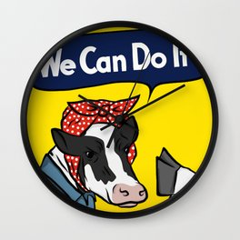 We can do it! Rosie the Riveter Vegan Cow Wall Clock