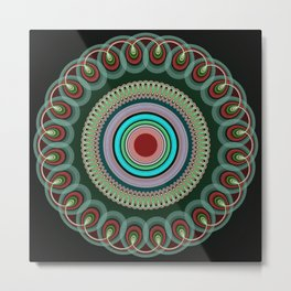Curly Mandala in pink, blue, green and red Metal Print