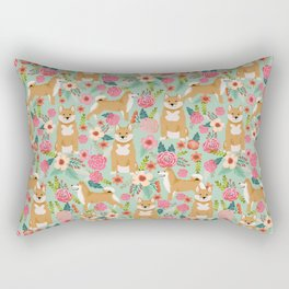Shiba Inu dog floral pet gifts must haves shiba inus dog breeds pure bred Rectangular Pillow