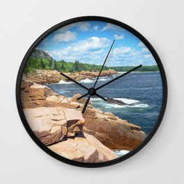 Rocky Summer Seascape Acadia National Park Photograph Wall Clock