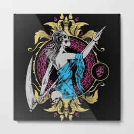 Death Girl with Scythe Metal Print